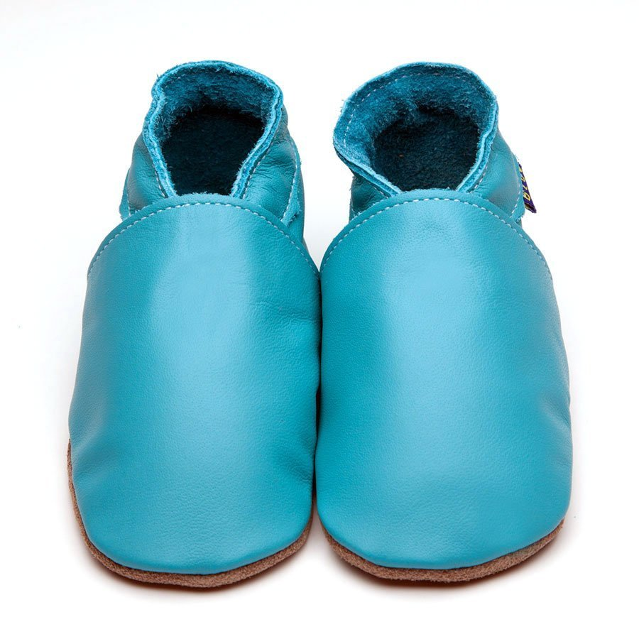 Leather Plain Turquoise Baby Shoes | Girl & Boy | Flexible