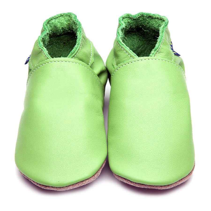 Leather Plain Green Baby Shoes | Girl & Boy | Soft Suede Sole