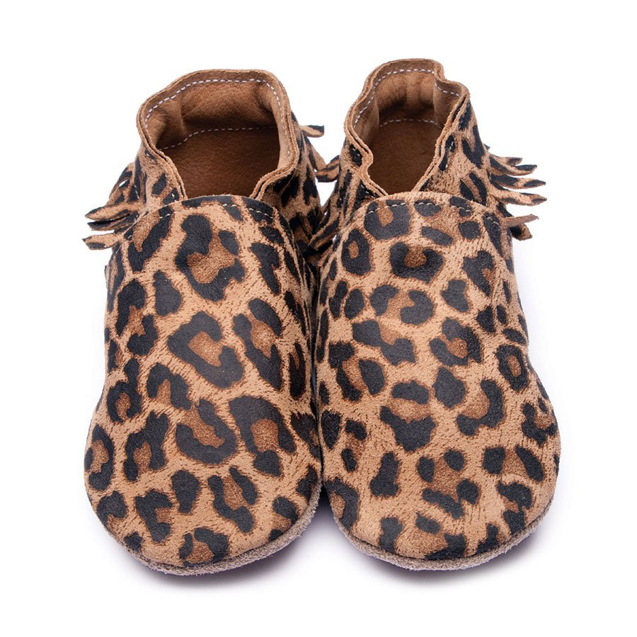 Leather Moccasin Leopard Baby Shoes | Girl & Boy | Fringed Cowboy Shoes | Handmade