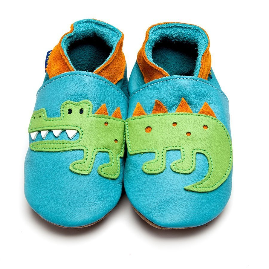 Leather Crocodile Turquoise/Tangerine Baby Shoes | Girl & Boy | Cute Animal | Flexible