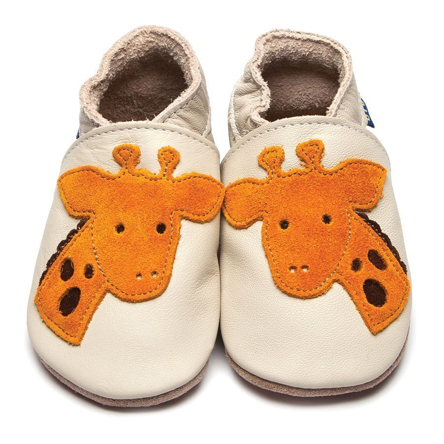 Leather Giraffe Cream Baby Shoes | Girl & Boy | Wild Animal | Handmade