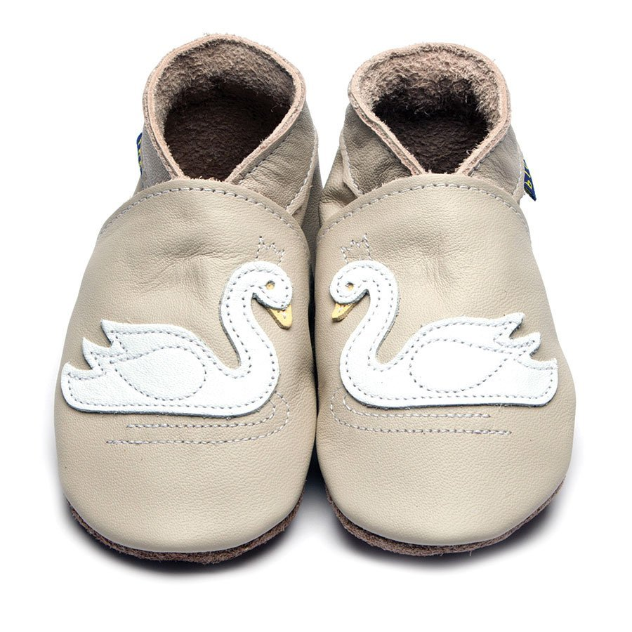 Leather Swan Cream Baby Shoes | Girl | White & Cream Swan | Cow Nappa Leather