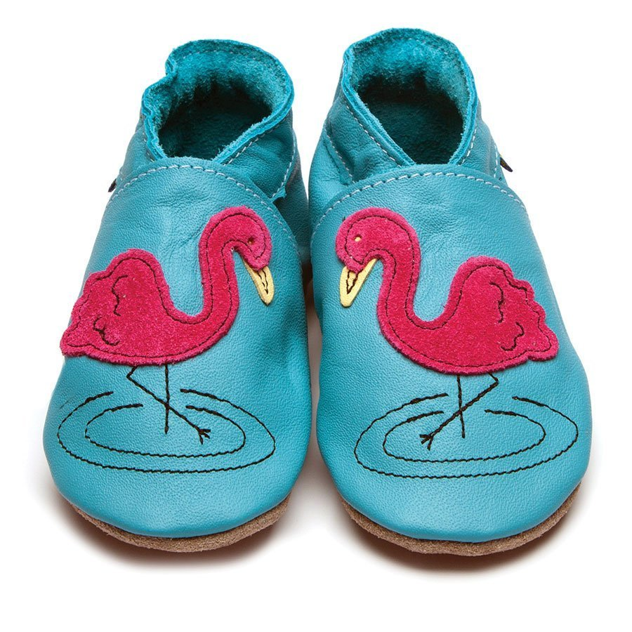 Leather Flamingo Turquoise Baby Shoes | Girl | Felt Blue Animal | Handmade