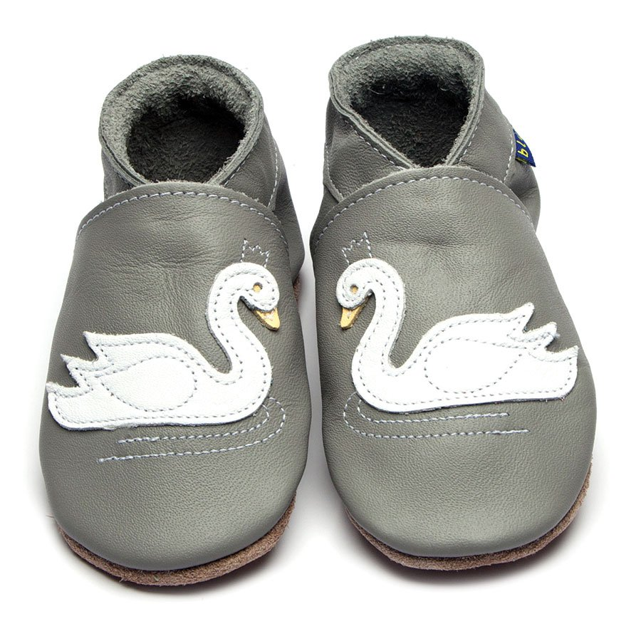 Leather Swan Grey Baby Shoes | Girl | Grey & Cream Swan | Handmade