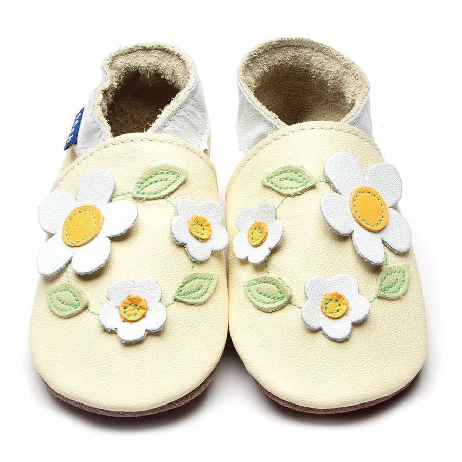 Leather Marguerite Lemon Baby Shoes | Girl & Boy | Light Yellow Flowers | Handmade
