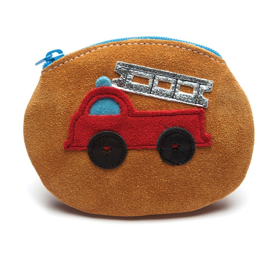 Leather Firetruck Purse Baby Shoes | Boy | Red Firefighter Wallet | Handmade