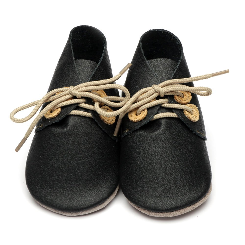 Leather Derby Black/Tan Baby Shoes | Boy | Lace-Up Pre-Walker | Breathable