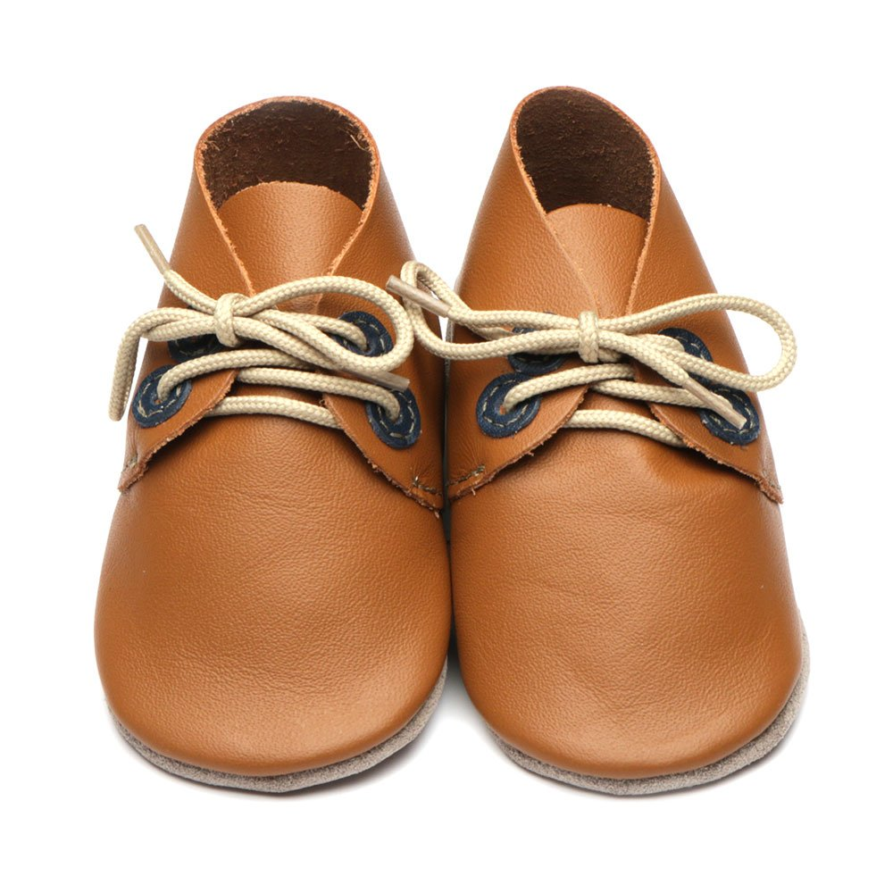 Leather Derby Caramel/Navy Baby Shoes | Boy | Lace-Up Pre-Walker | Handmade