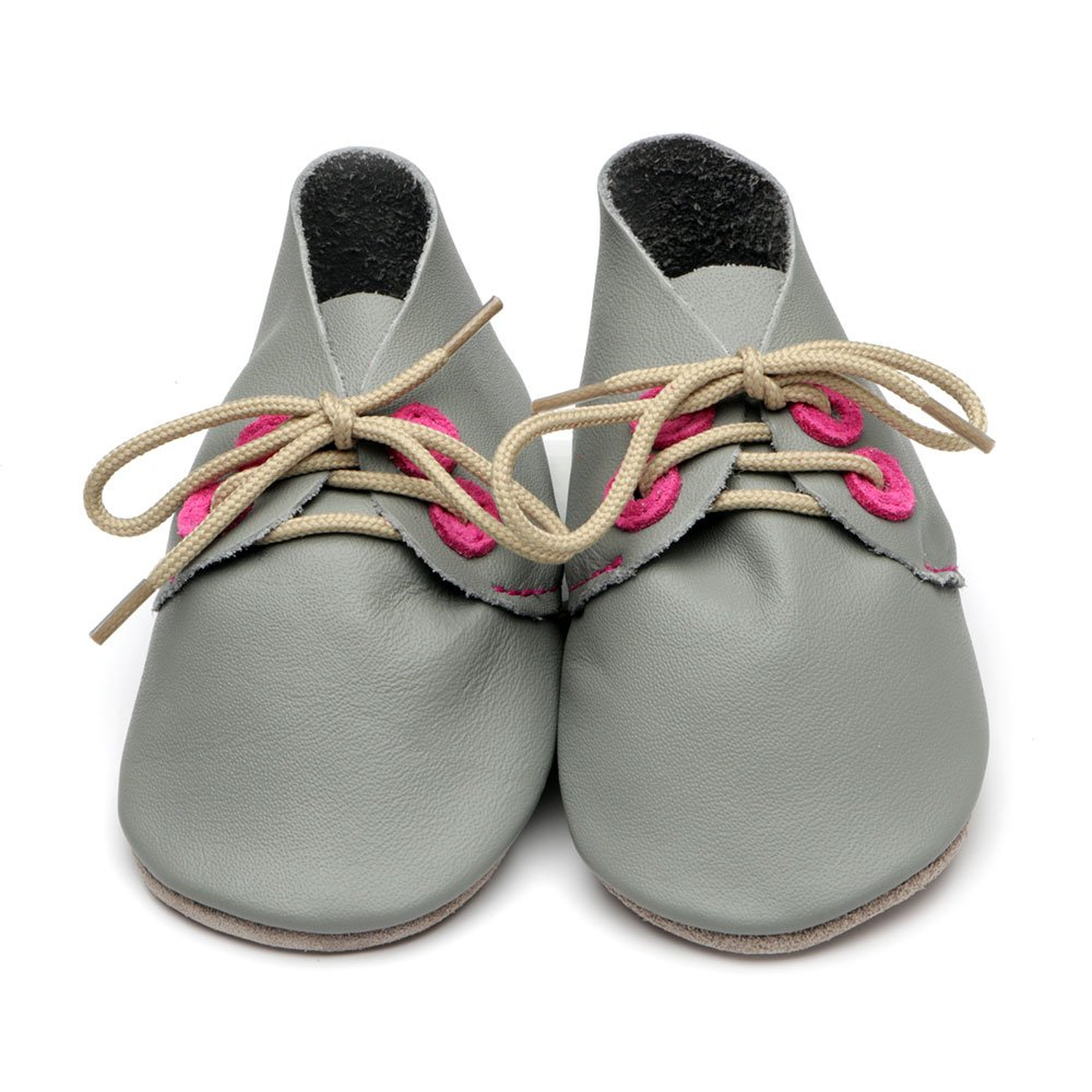 Leather Derby Grey/Pink Baby Shoes | Boy | Lace-Up Pre-Walker | Flexible