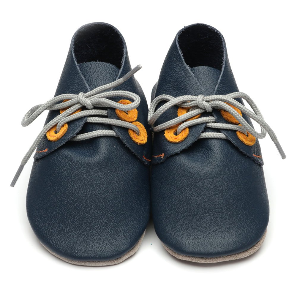 Leather Derby Navy/Tangerine Baby Shoes | Boy | Lace-Up Pre-Walker | Soft Suede Sole