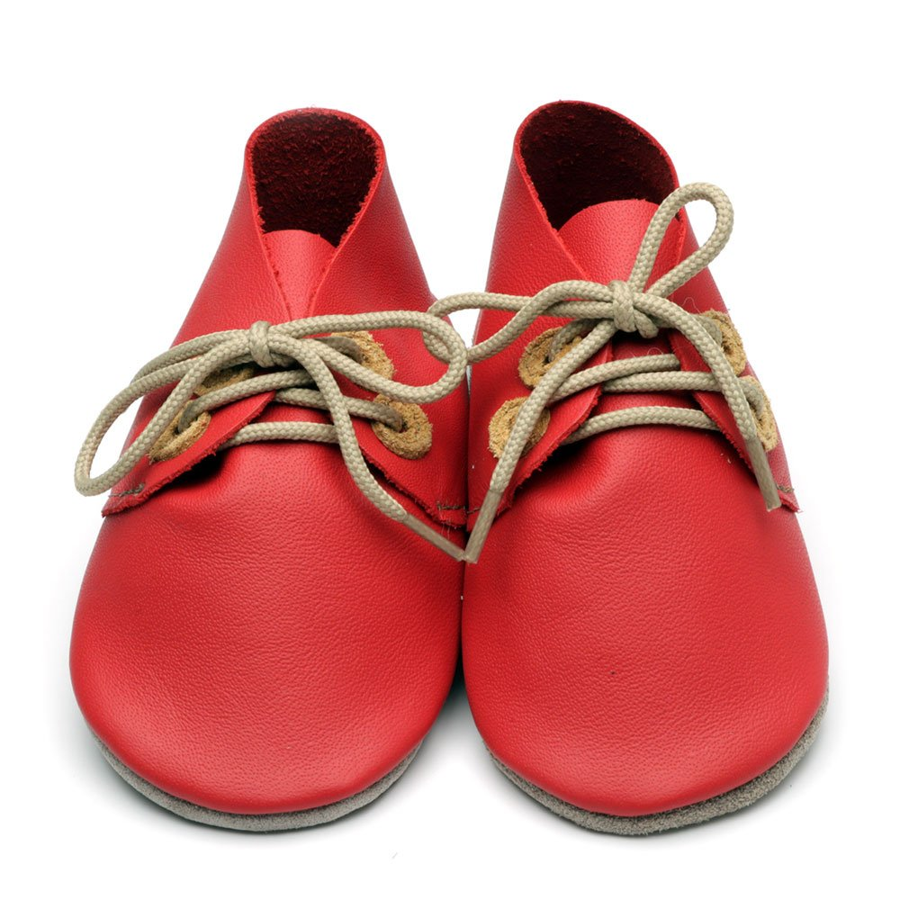 Leather Derby Red/Tan Baby Shoes | Boy | Lace-Up Pre-Walker | Handmade