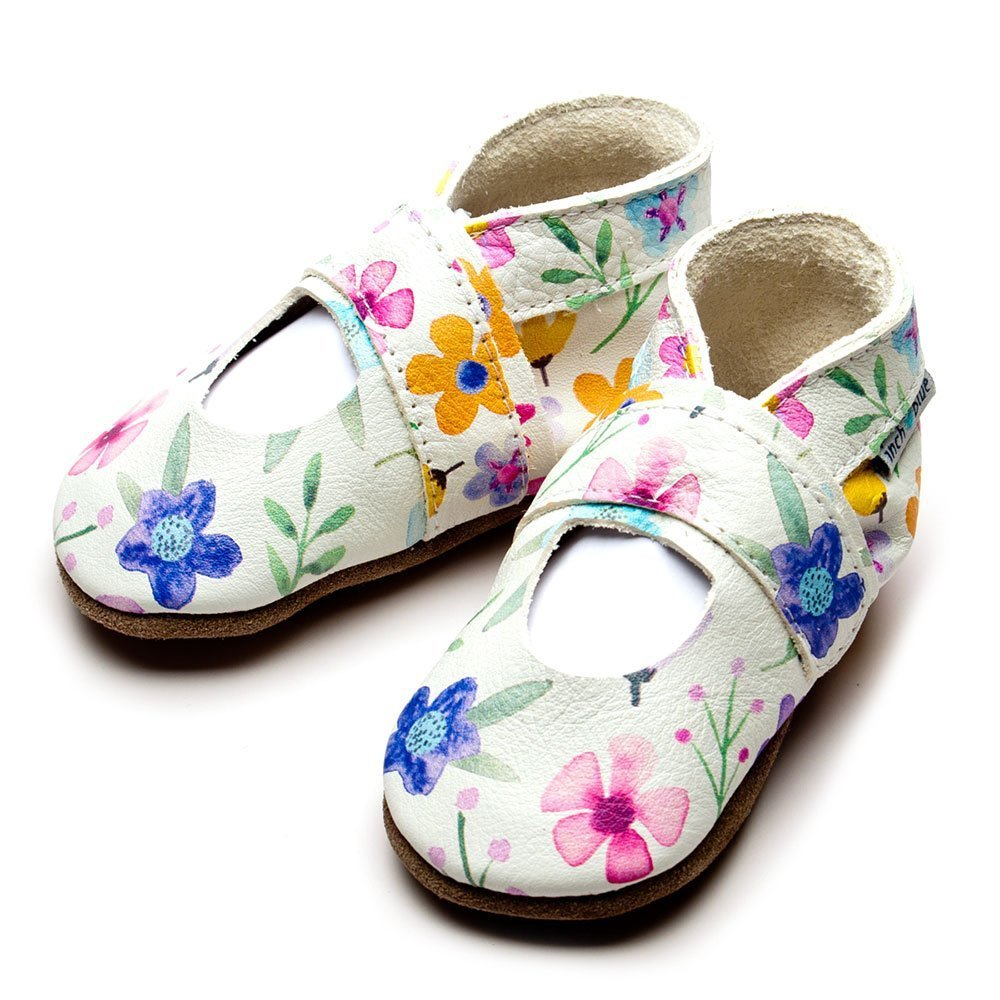 Leather Mary Jane Posy Baby Shoes | Girl | Painted Flowers | Flexible
