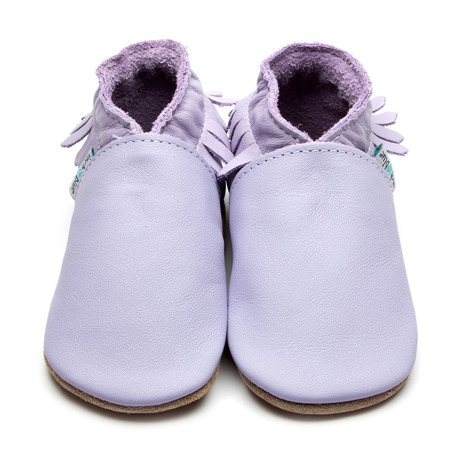 Leather Moccasin Lilac Baby Shoes | Girl & Boy | Fringed Cowboy Shoes | Natural Rubber Sole