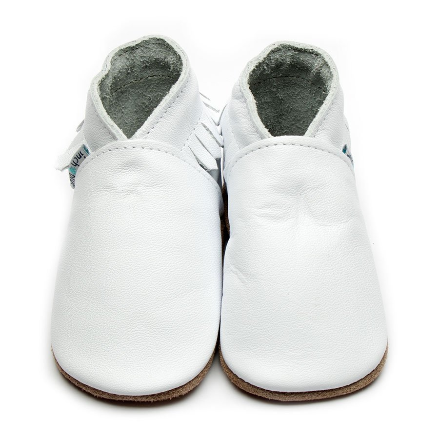 Leather Moccasin White Baby Shoes | Girl & Boy | Fringed Cowboy Shoes | Cow Nappa Leather