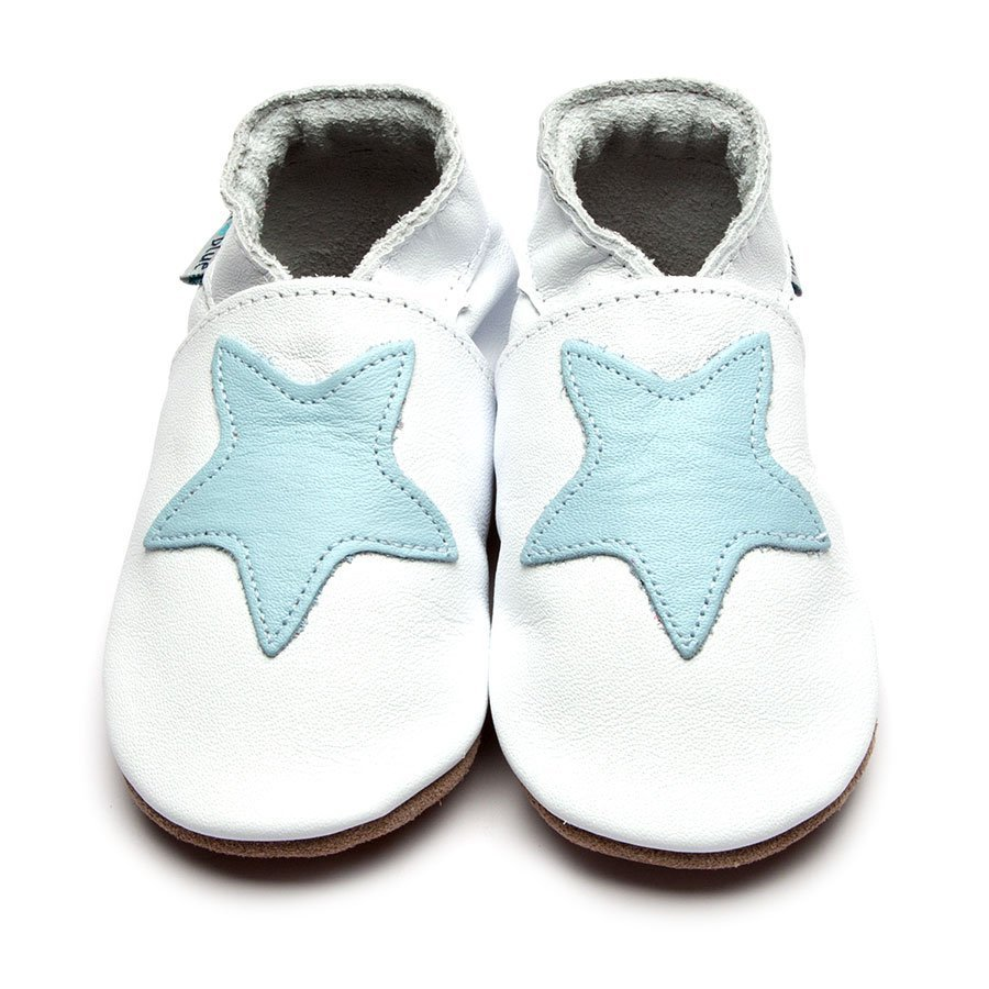 Leather Starry White/Baby Blue Baby Shoes | Girl & Boy | Starry Night | Handmade to Order