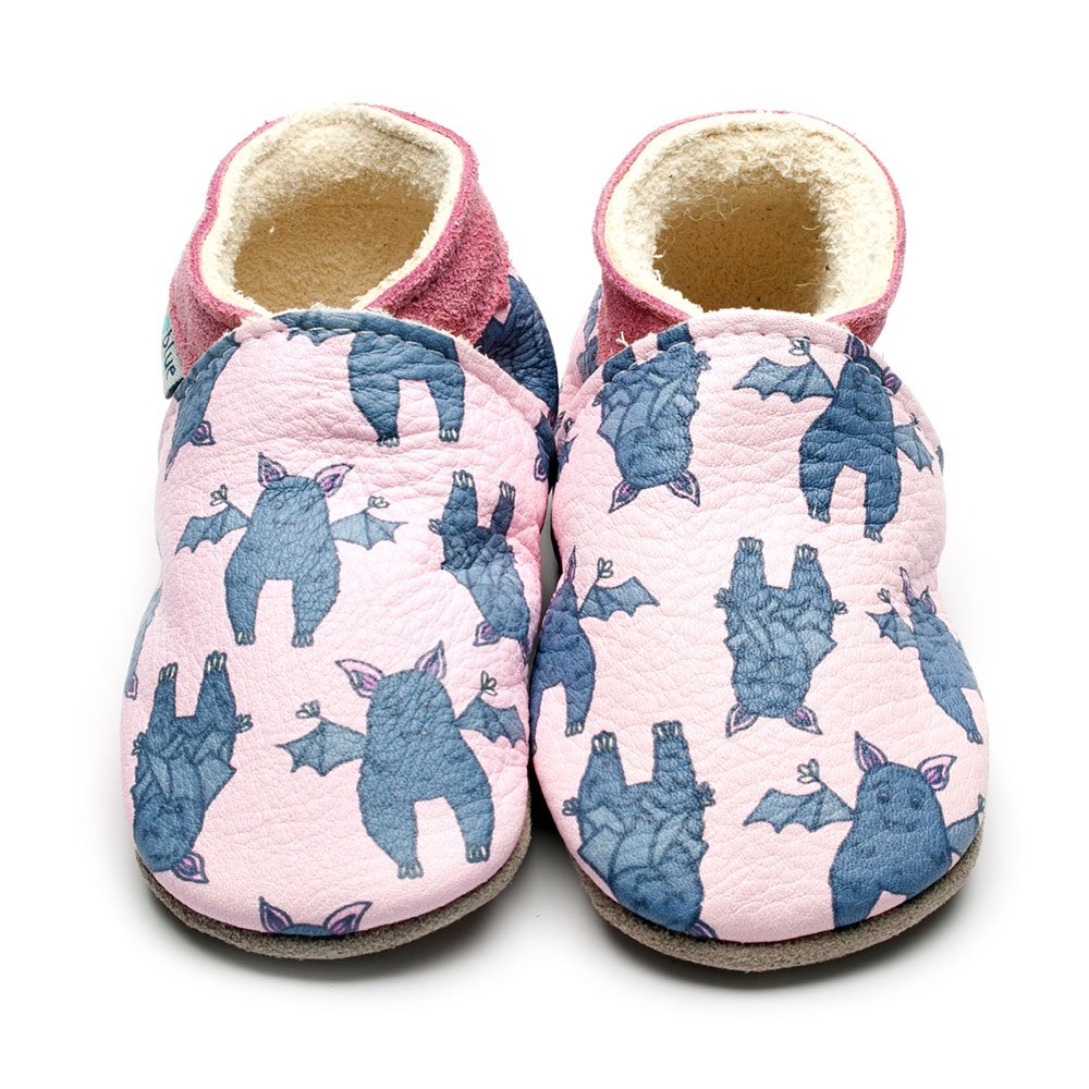 Leather Bat Pink Baby Shoes | Girl & Boy | Cute Animal | Handmade to Order