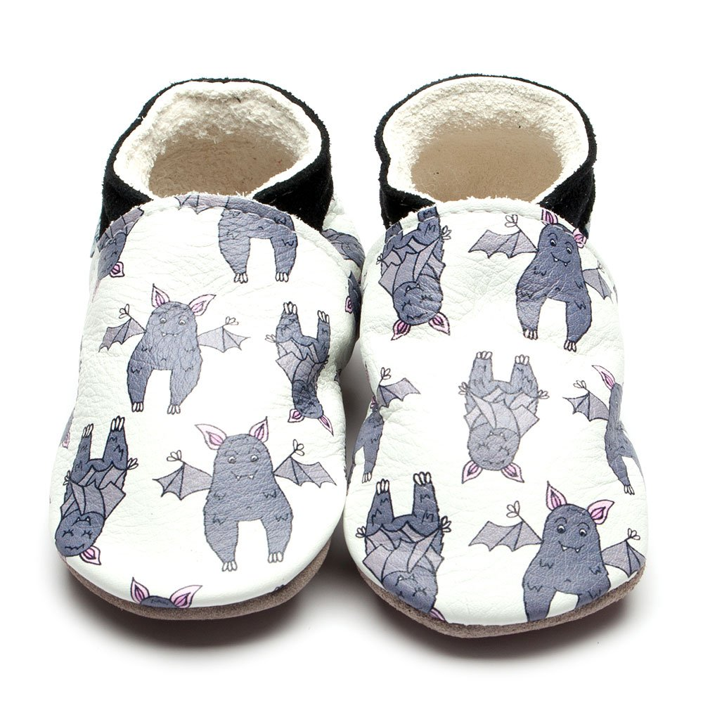 Leather Bat White Baby Shoes | Girl & Boy | Cute Animal | Natural Rubber Sole