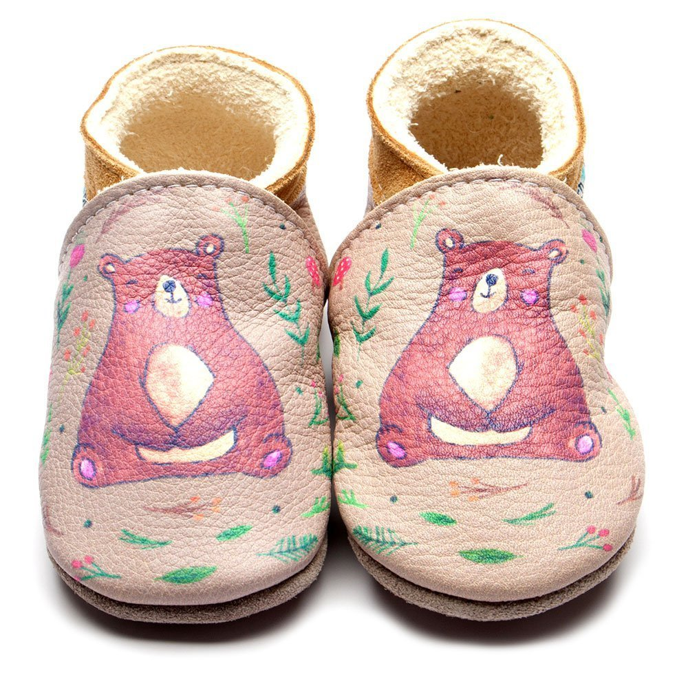 Leather Bear Print Baby Shoes | Girl & Boy | Painted Animal | Breathable