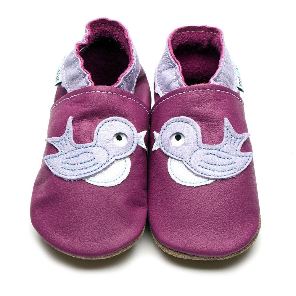 Leather Bluebird Grape Baby Shoes | Girl | Painted Animal | Handmade to Order