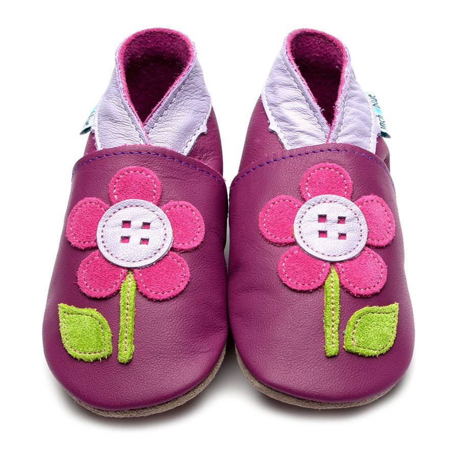 Leather Button Flower Grape Baby Shoes | Boy | Lilac Flower Button | Handmade to Order