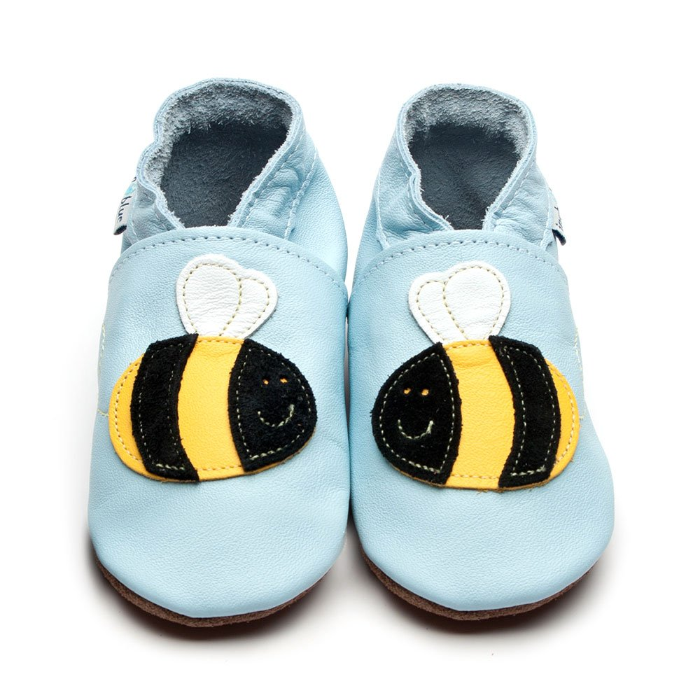 Leather Buzzy Baby Blue Baby Shoes | Boy | Black & Yellow Bees | Flexible