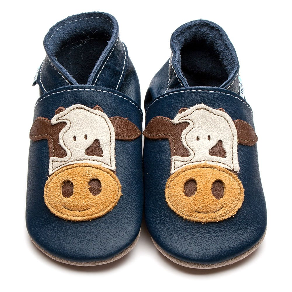 Leather Cow Navy Baby Shoes | Girl & Boy | Cute Animal | Soft Suede Sole