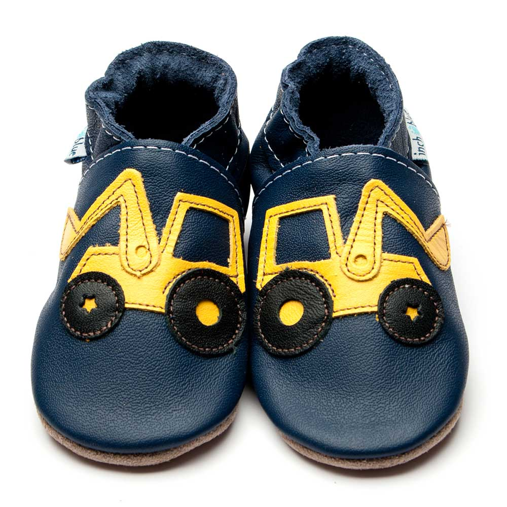 Leather Digger Navy Baby Shoes | Boy | Bob the Builder Truck | Natural Rubber Sole