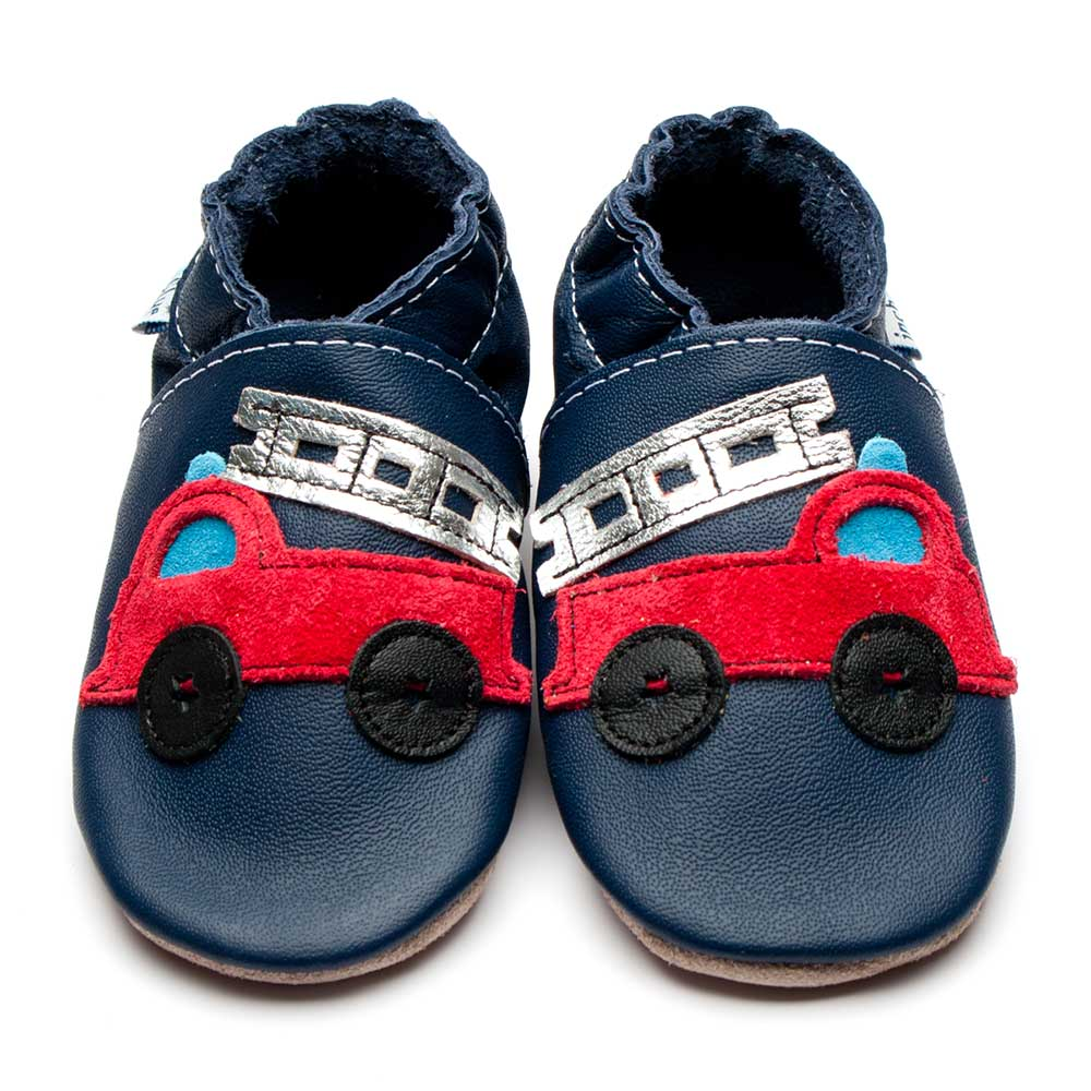 Leather Firetruck Navy/Red Baby Shoes | Boy | Red Firefighter | Flexible