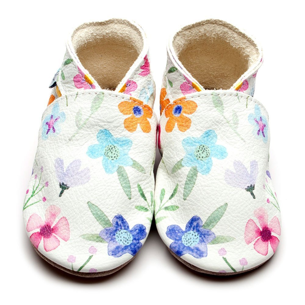 Leather Posy Baby Shoes | Girl & Boy | Flowery | Natural Rubber Sole