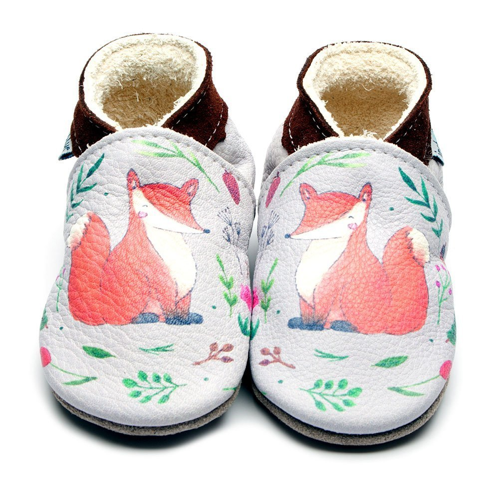 Leather Fox Print Baby Shoes | Girl & Boy | Woodland Animals | Handmade