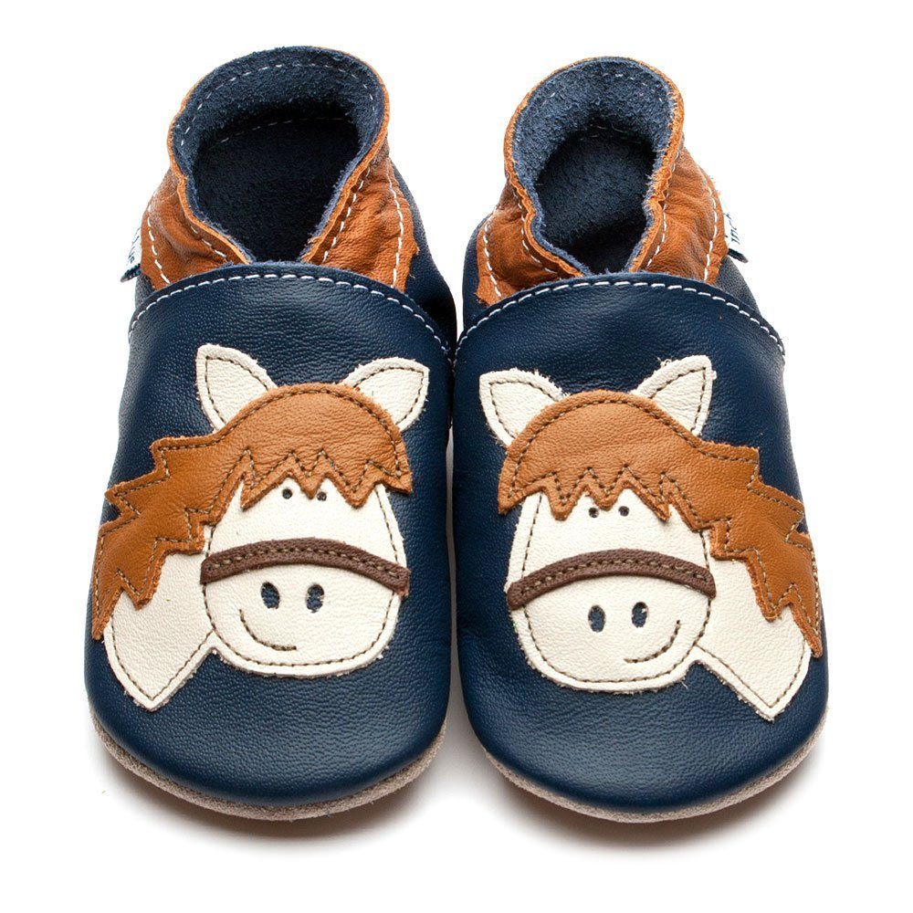 Leather Horse Navy Baby Shoes | Girl | Pony Face | Handmade