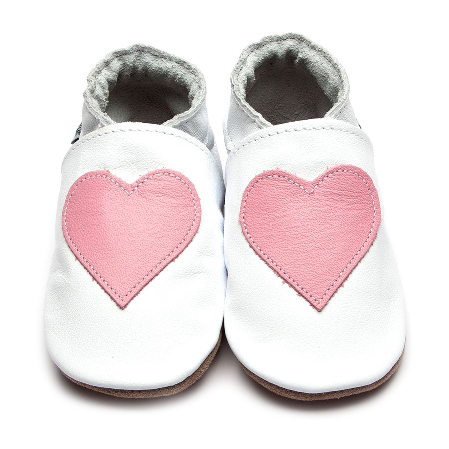 Leather Love White/Baby Pink Baby Shoes | Girl | Pink Heart | Cow Nappa Leather