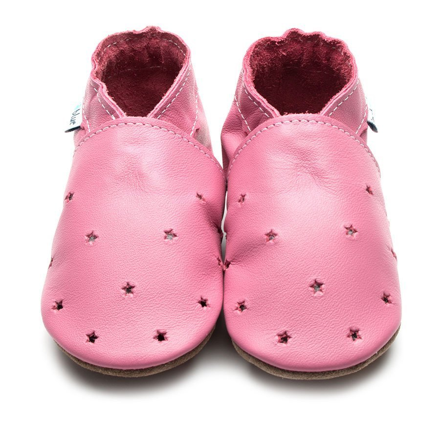 Leather Milky Way Rose Pink Toddler Shoes | Girl & Boy | Rose Pink Shoes & Silver Stars | Non -Slip