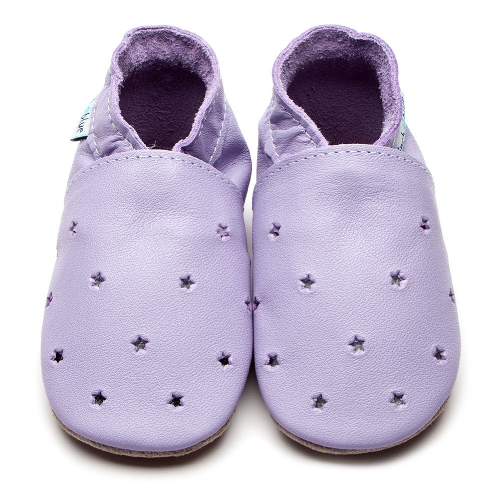 Leather Milky Way Lilac Baby Shoes | Girl & Boy | Lilac & Silver Stars | Non -Slip