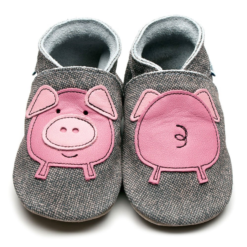 Leather Pig Denim Baby Shoes | Girl & Boy | Woodland Animals | Cow Nappa Leather