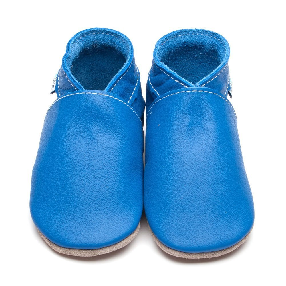 Leather Plain Blue Baby Shoes | Girl & Boy | Flexible