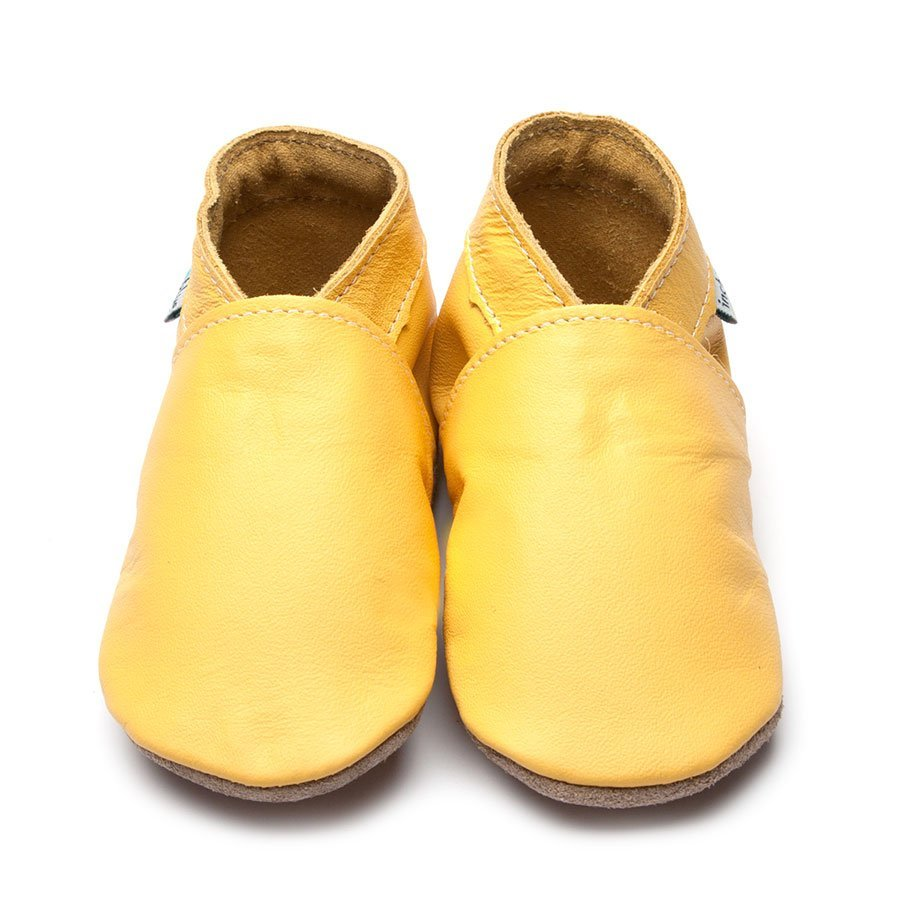 Leather Plain Yellow Baby Shoes | Girl & Boy | Breathable