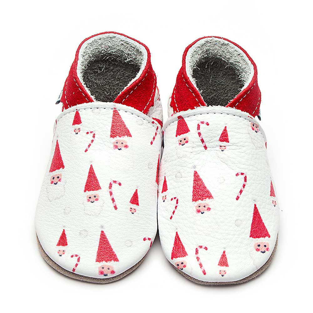 Leather Santa Baby Shoes | Girl & Boy | Festive Father Christmas | Handmade
