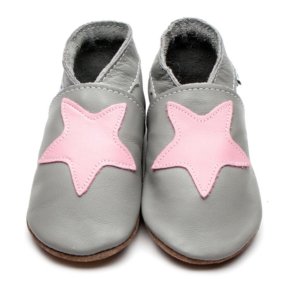 Leather Starry Starry Grey/Baby Pink Baby Shoes | Girl | Starry Night | Natural Rubber Sole