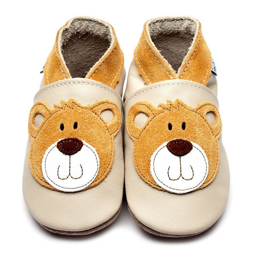 Leather Teddy Cream Baby Shoes | Boy | White Bear | Natural Rubber Sole