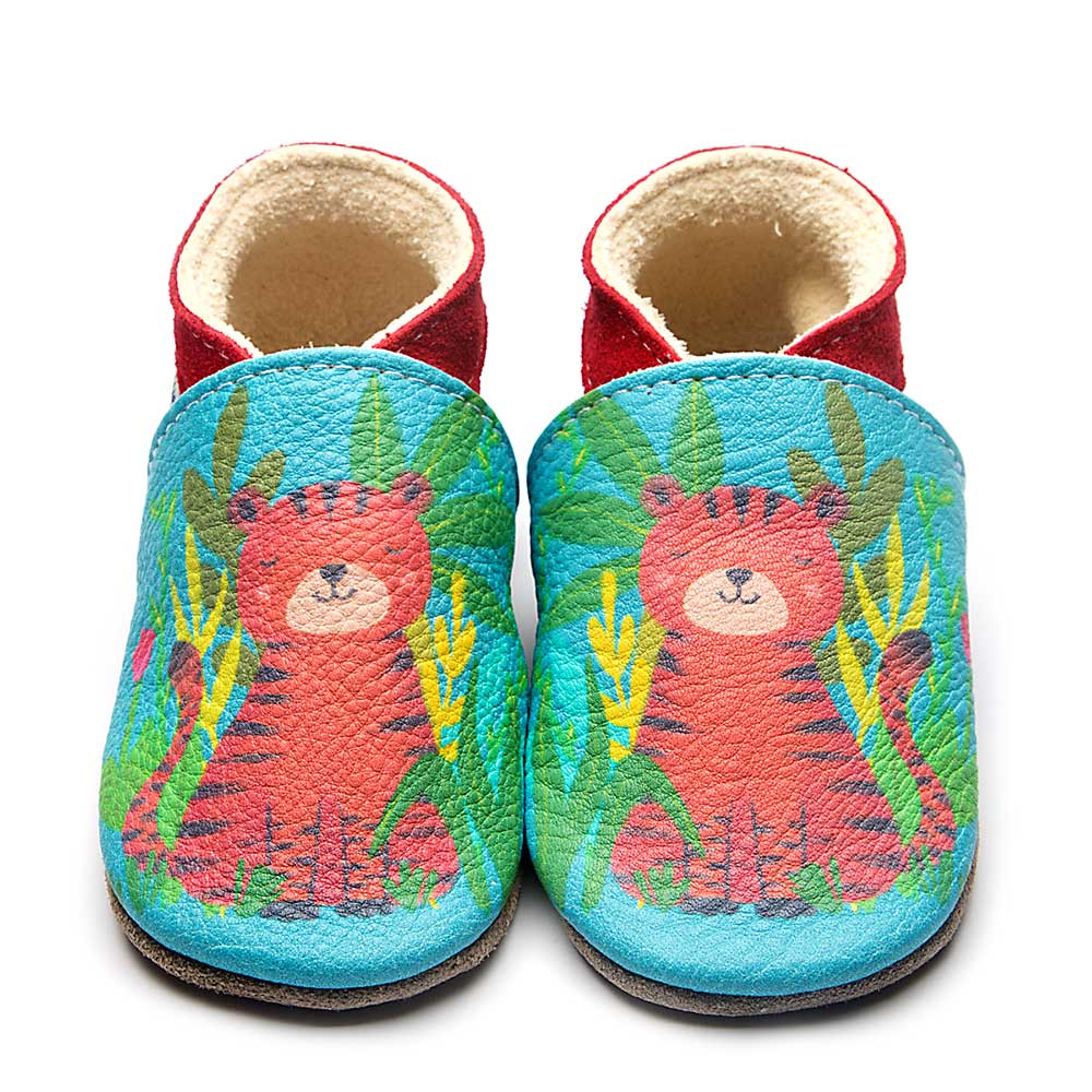 Leather Tiger Baby Shoes | Boy | Painted Animal | Natural Rubber Sole