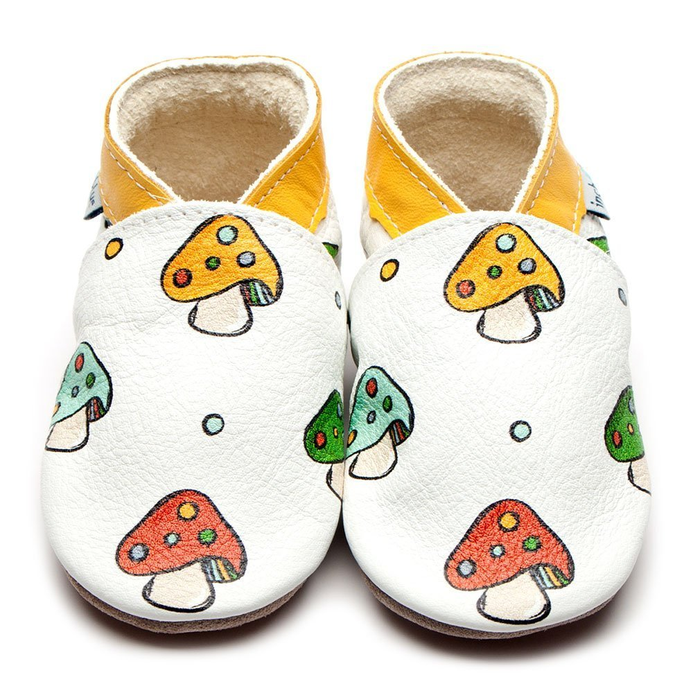 Leather Blyton Baby Shoes | Girl & Boy | Painted Mushroom | Non -Slip