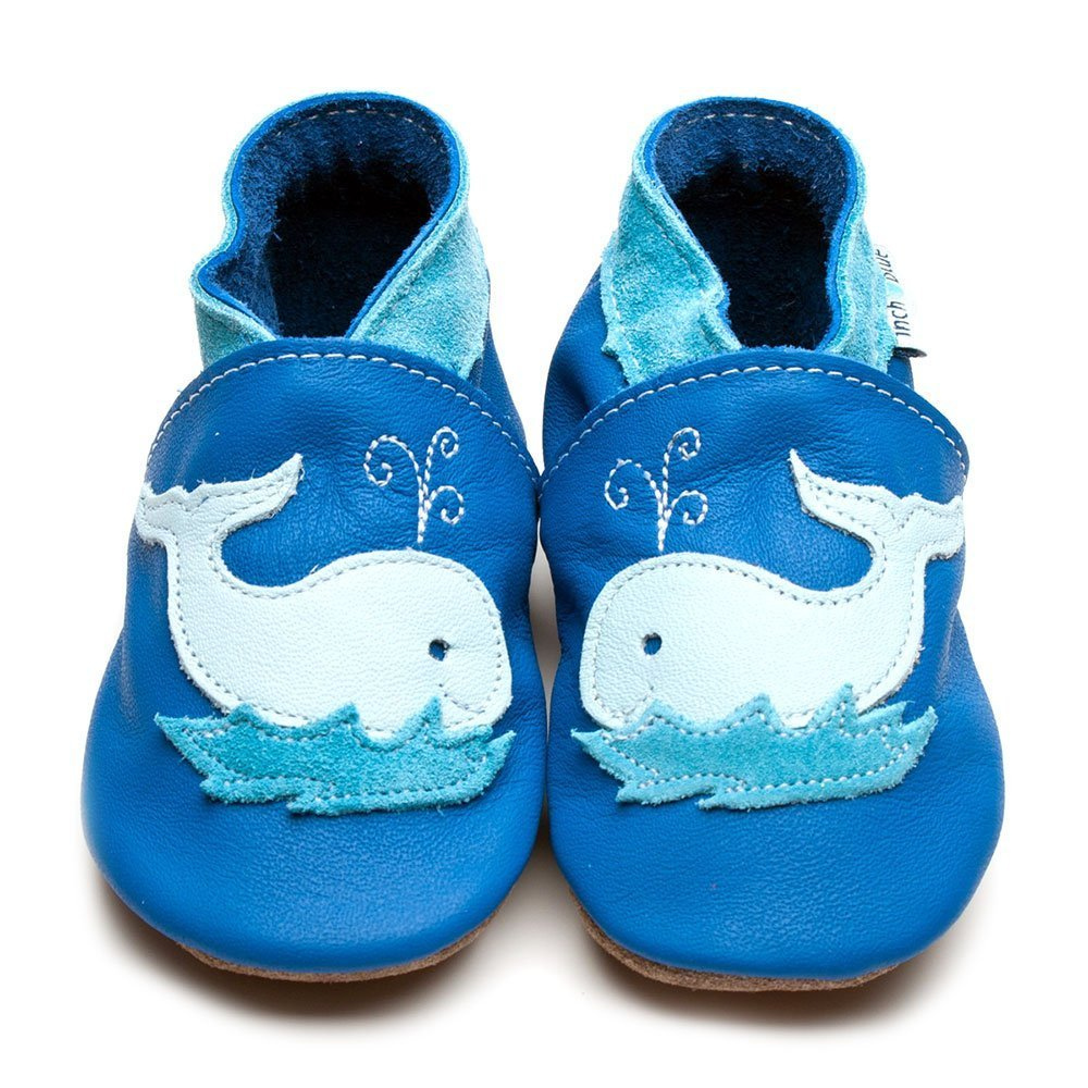 Leather Whale Blue Baby Shoes | Girl & Boy | Under the Sea | Handmade